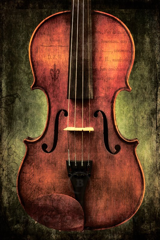 Violin with grunge appearance and texture